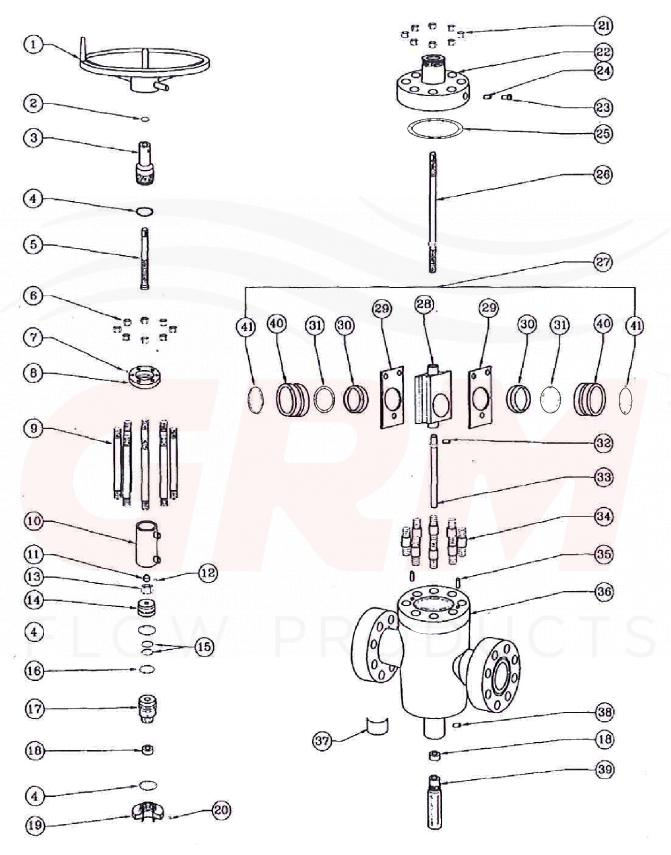 grm fc hydraulic gate valve exploded view