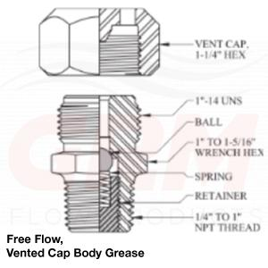 grm free flow, vented cap, body grease fitting